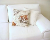 "Ship and Old Map Print Pillow Cover - Piri Reis Map and Ships Brown Print on Cream Linen Fabric - 18x18"" - Ready to Ship - MyDreamHome"