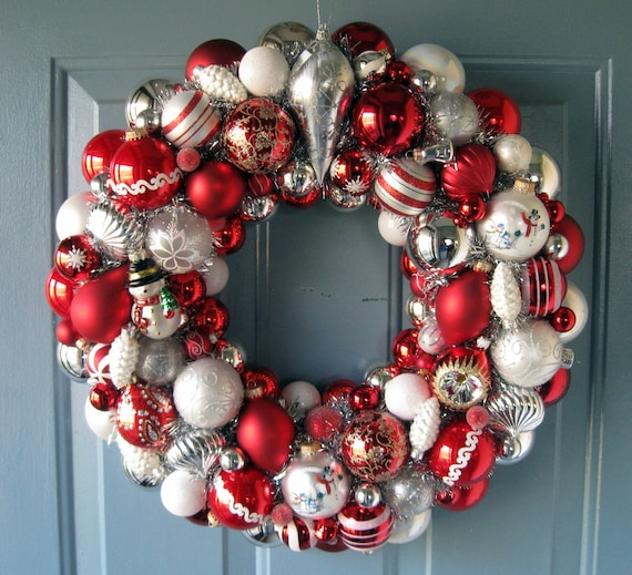Christmas Wreath, Vintage Ornaments  FREE Shipping