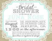 Vintage Burlap and Lace Bridal Shower Invitation - JulsNewbrough