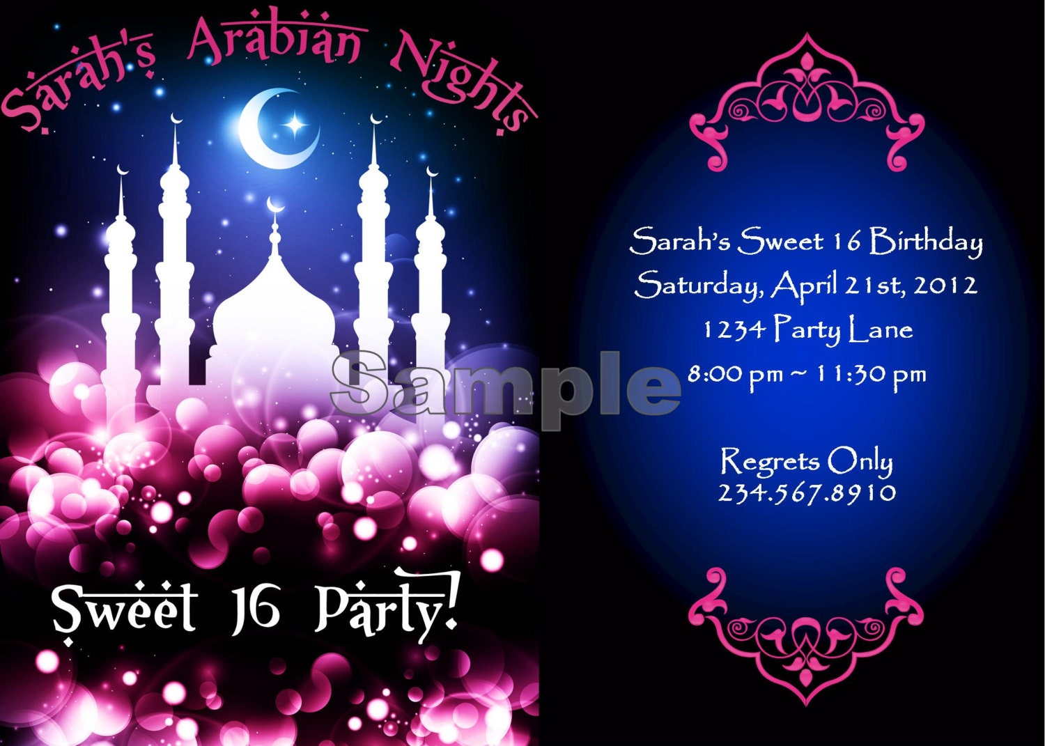 arabian nights, harem nights, 1001 arabian nights, bridal shower, birthday, part, invites