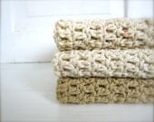 Crochet 100% Cotton Washcloths Dishcloths, Facecloths Set of 3, Mocha Tan, Natural Cream, Neutral - craftsbybeck