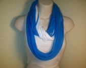Free US Shipping: Blue and White Jersey Knit Infinity Scarf/Necklace
