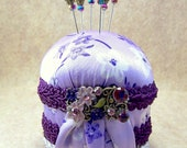 Petite French Violet lavender satin purple braid pincushion with Victorian focal and decorative straight pins vintage look sewing room TAGT