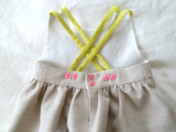 Natural Linen Dress with Pink Bone Buttons and Raw Silk Noil Neon Straps