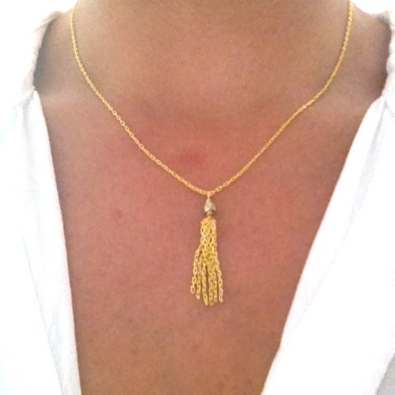 Delicate Gold Mini Tassel Chain Necklace