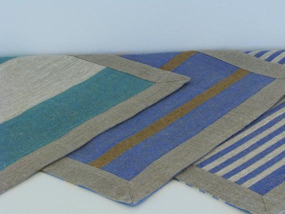 Linen Bath Mat / Bath Rug / Striped / Blue / Green / Brown or Ecru Stripes