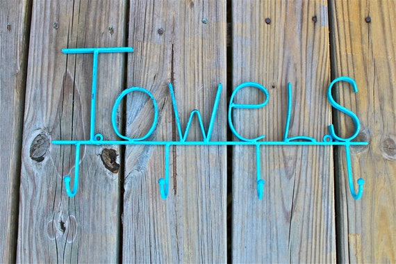 TOWELS Wall Hook/ Turquoise/ Bath, Beach Towel, Robe Hanger/ Shabby Chic/ Bathroom, Pool House Fixture/
