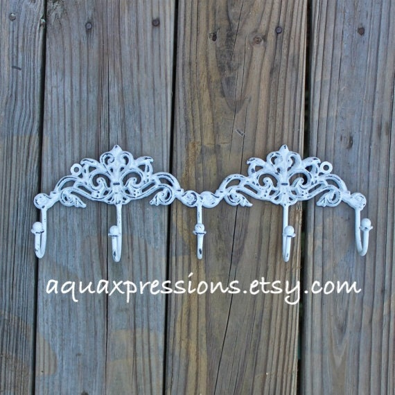 Metal Wall Hook /White /Jewelry/ Key Holder/ by AquaXpressions