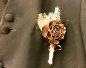 groom boutonniere rustic fall winter forest lapel pin men cedar rose pine cone wedding - MomoRadRose