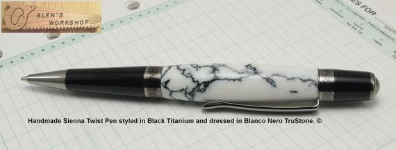 Handmade Sienna Pen BlackTitanium Blanco Nero Tru-Stone