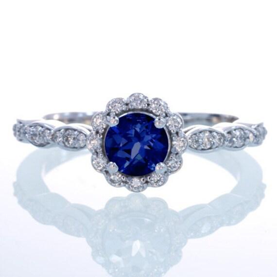 Sapphire Diamond Flower Halo Engagement Wedding Anniversary Promise Gift Something Blue Ring