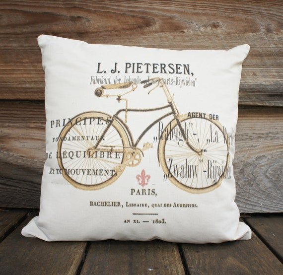 Bicycle Pillow, White Decorative Throw Pillow, Couch Pillow 16x16