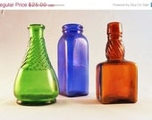 Small Old Bottle Trio, Green, Cobalt, Brown - SpruceCove
