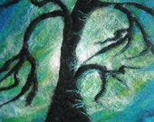 textile art, felt picture, abstract tree