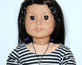 American Girl Doll Black Sneakers Boots Black White Stripe T Shirt Black Mini Red Belt Charm Necklace - JessieAmerica