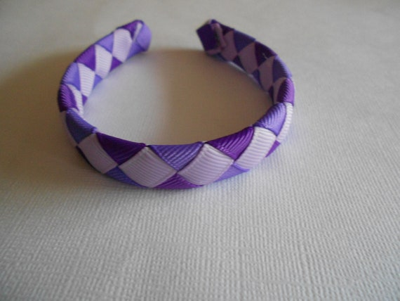 Purple woven headband for American Girl and 18 inch dolls
