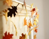 Fall Wedding Decoration. Fall Foliage. Felt Garland in Autumn Colors. Thanksgiving decoration - CoutureByAyca