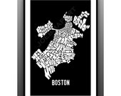 BOSTON Neighborhoods Typography Map Art Print - bus scroll subway sign art print - joebmapart