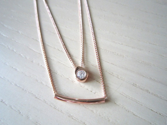 rose gold Stick with rainrope necklace-rose gold necklace-double rose gold necklace