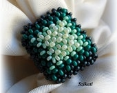 Beaded green seed bead ring, right angle weave, OOAK
