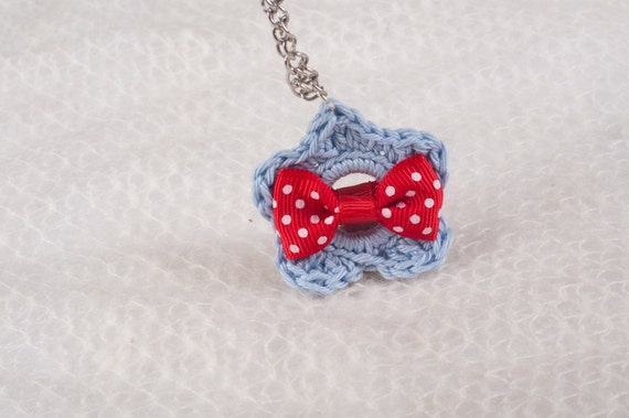For Fashion Lovers - Light Blue Crochet Flower with a Red Dotted Bow Tie On a Silver Chain.