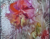 "Original Encaustic Abstract Floral 12""x12"" Gallery Canvas ""Keeper of the Garden"" StudioSabine"
