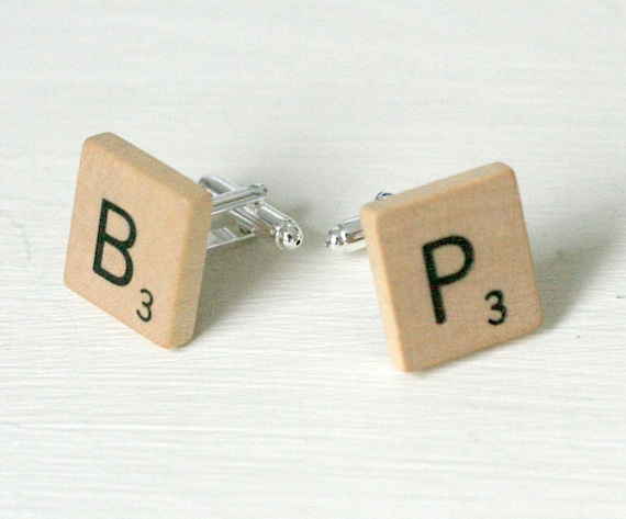 Personalised Wooden Scrabble Tile Initial Cufflinks FREE UK POSTAGE