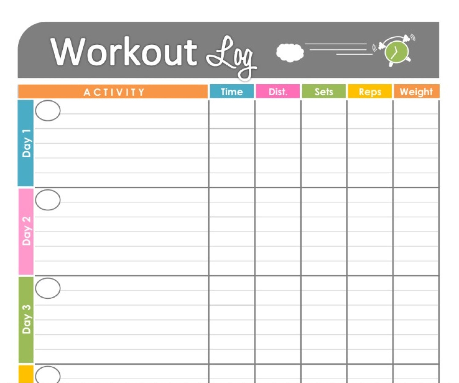 workout program sheet