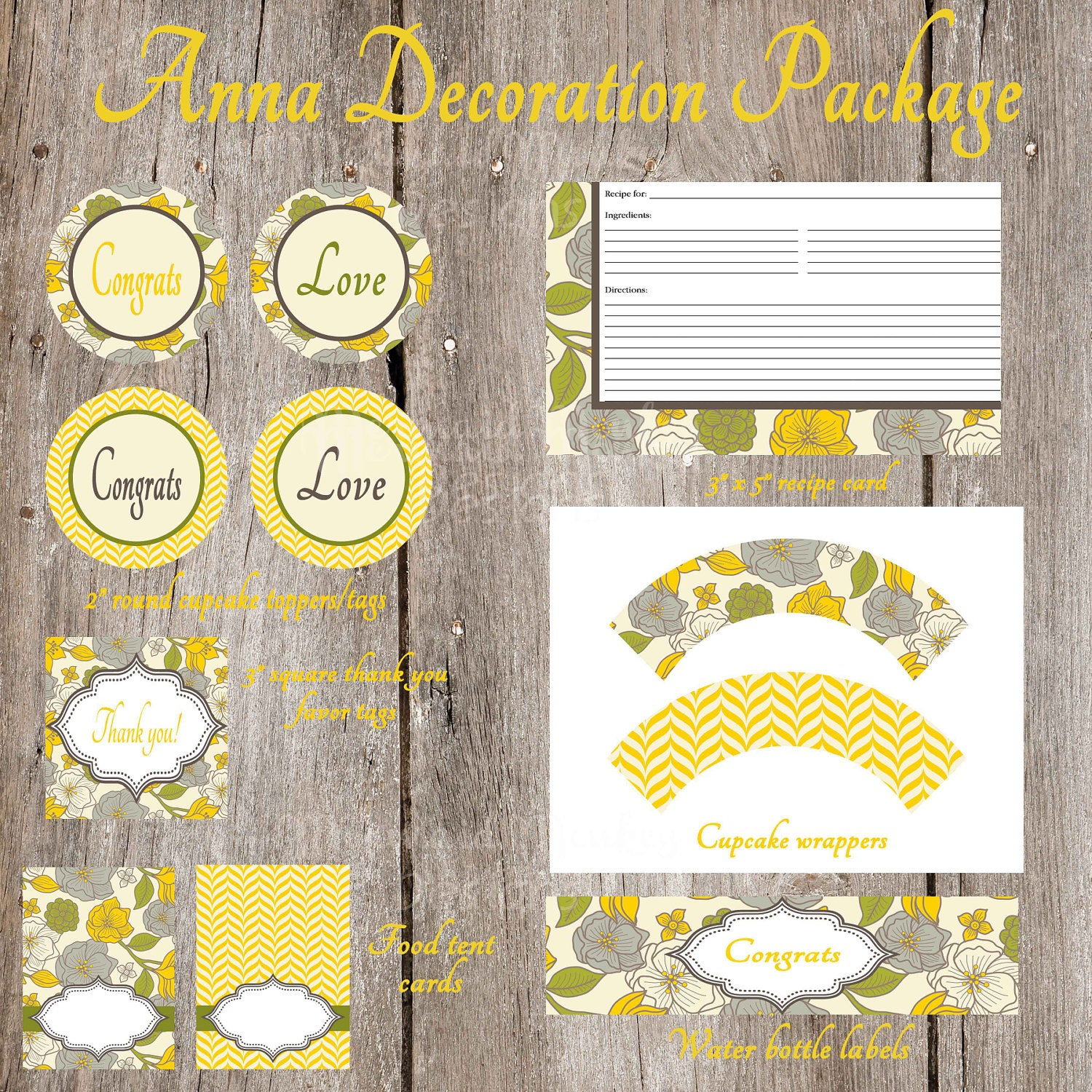 Bridal Shower Decoration Package Wedding by MermaidMonkeyDesigns