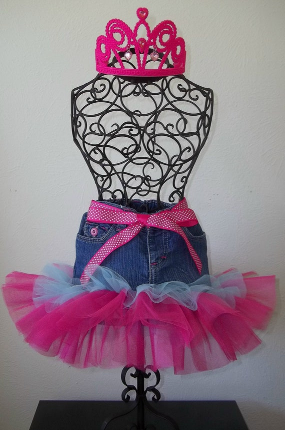 TuTu: Double Layered Pink and Blue Jean (Denim) Tutu