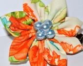 Flower hair accessory- Cream, orange and green flat petal cotton fabric kanzashi hair flower clip