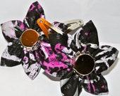 Black, white and pink cotton fabric kanzashi flower barrette set