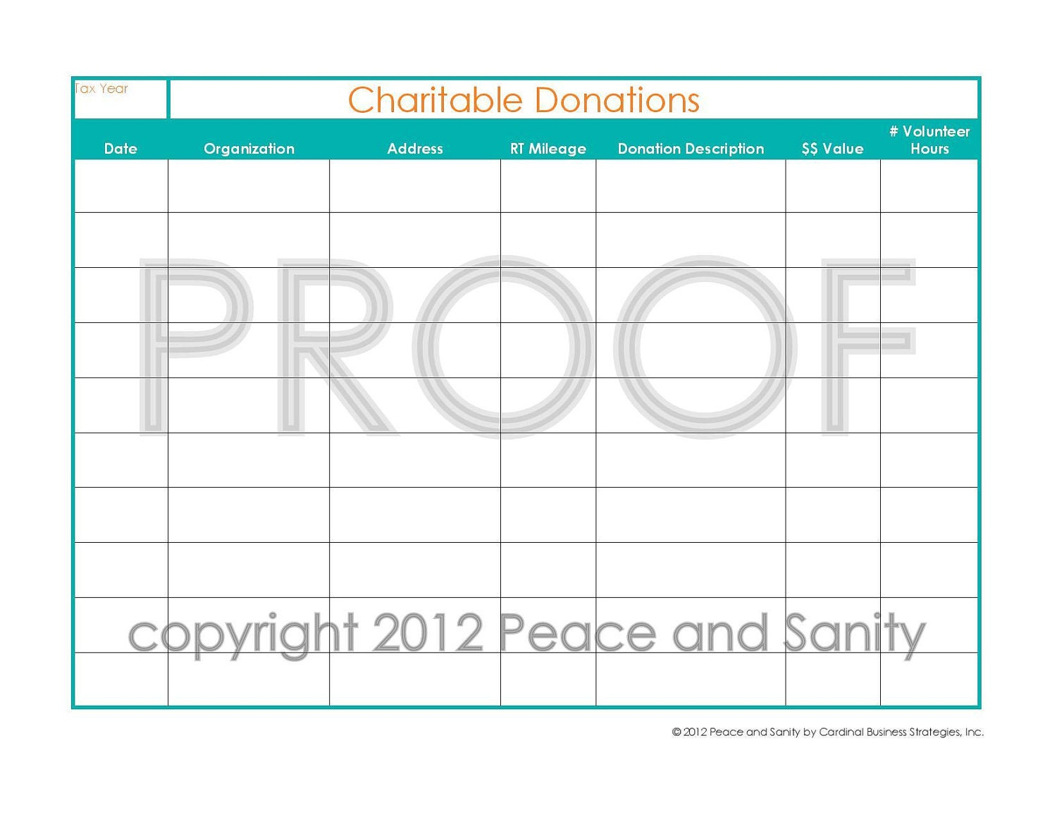 Charitable Donations Worksheet Printable PDF by PeaceandSanity Images ...