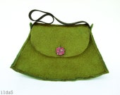 Olive-green felted handbag with red button - TildaSFelt