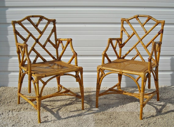 Vintage Chippendale Bamboo Rattan Chairs McGuire Style Hollywood Regency  Set Of 6