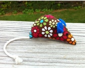ON SALE Catnip mouse, Cat toy, Pet toy: Rainbow Flowers, Blue Ears, White Tail - MauveMoose