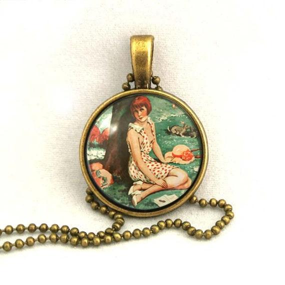 10% SALE Necklace Vintage Le Sourire France Girl 1930s Retro Gorgeous Copper Art Pendant Gift