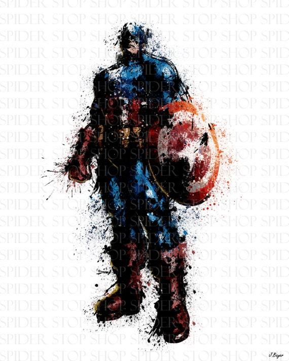 "Captain America Grunge ""18 x 24"""