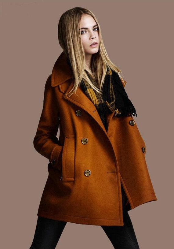 Burnt orange twill Wool coat double breasted button  Coat Jacket  Autumn winter coat  cloak dy17 S-XL