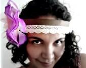 Boho Chic Headband. Woodland Beauty. Purple Flower with Cotton Lace. OOAK. - EcoYagual