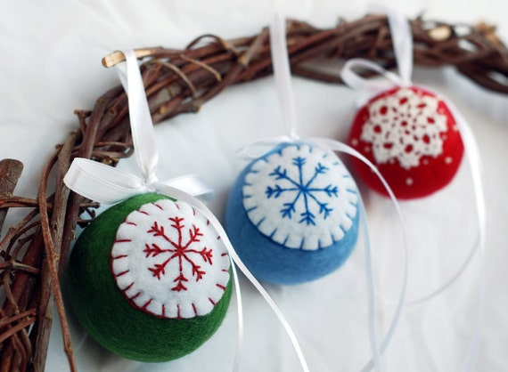 Felted Christmas ornaments , New Year  tree hanging decoration, set of 3 balls. Hand Crocheted and embroidery ornaments.