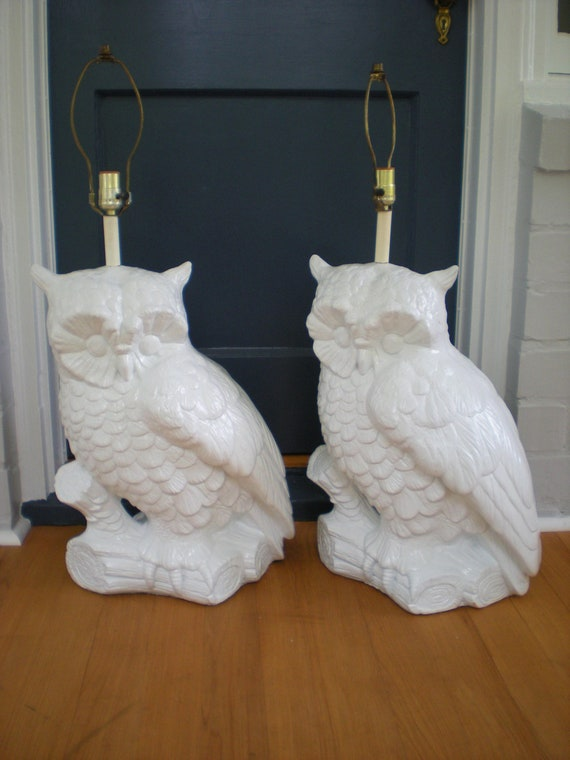 REDUCED-Large White Owl Couture Lamps