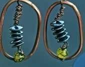 Ancient Copper Coiled  Hematite Hoop Earrings, Snake Agate Stone-Antique, Seamless Copper Earrings