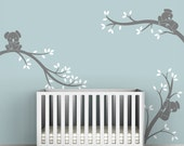 Kids Tree Wall Decal Baby Nursery Wall Decal Decor Gray White Tree - Koala Tree Branches by LittleLion Studio