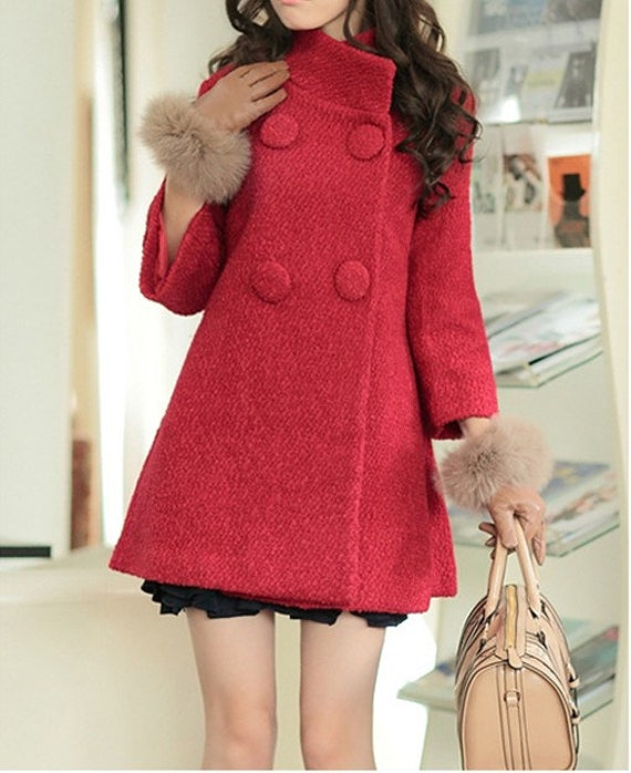 Women Red Wool Cape Cashmere coat double breasted button winter coat Hood cloak Hoodie-Hooded Cape clothes/cloth /jacket S-XL