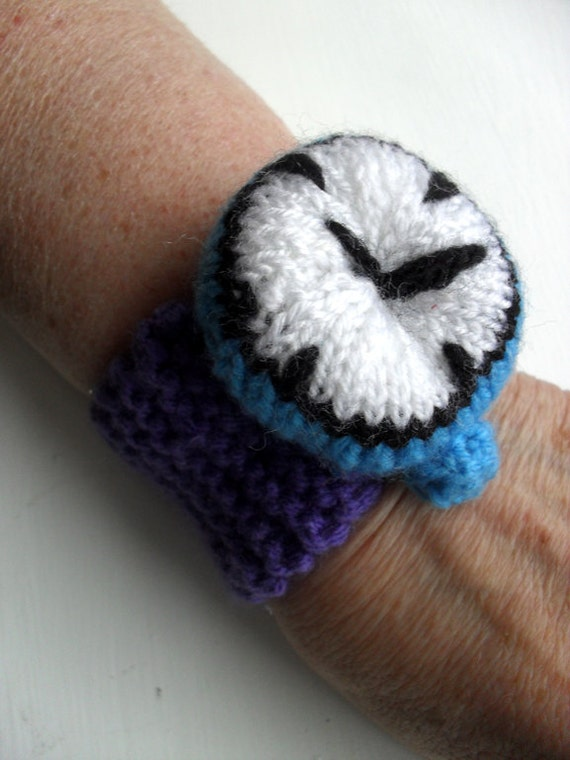 Hand knitted watch bracelet wrist cuff & pin cushion