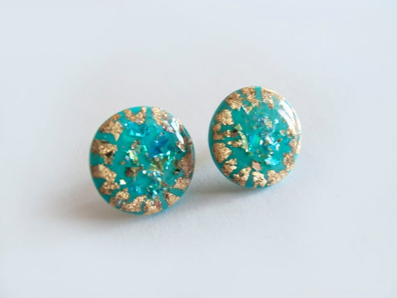 Turquoise Stud Earrings - Polymer Clay and Resin Jewelry