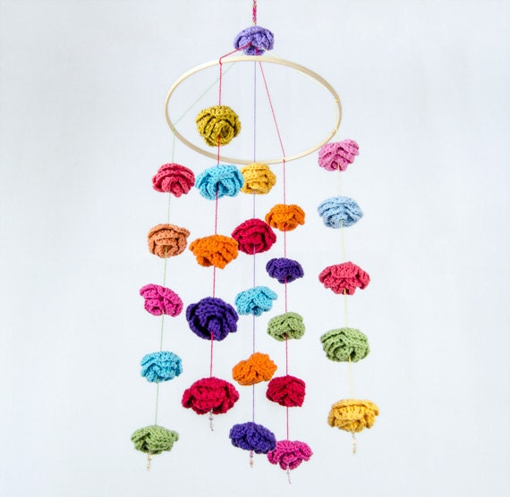 Colorful Rain of Roses Mobile - Baby Mobile - Nursery Mobile - Crib Mobile - Crochet Mobile - Nursery Decor - Custom Order
