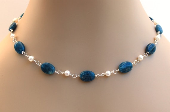 Apatite Pearl Necklace Teal Blue Handcrafted Sterling Silver Link Necklace