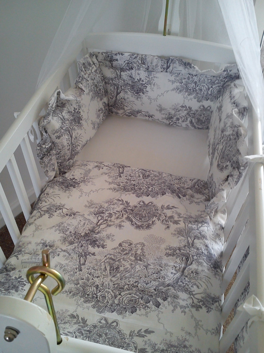 vintage french toile de jouy crib bedding bumper quilt and
